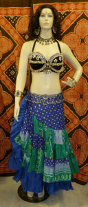 Gorgeous Ensemble Half Skirt Full Skirt Blue Grn
