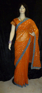 Gorgeous Sari Choli Ensemble Orange trq