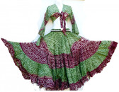 25 Yard Jaipur Skirt and Top Green Maroon