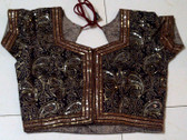Lovely Black Red Paisley Sequened Choli Sz 34 to 38