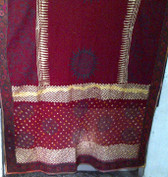 Red Tie Dye Block Print Veil with banjara embroidred border on all 4 edges.