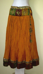 Rich Golden & Yellow Crush Silk Skirt