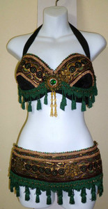 Glorious Green, Maroon & Copper Bra Belt Set 3 pc