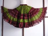 Gorgeous 25 yard Jaipr Tie Dye skirt Green Maroon Combo