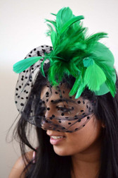 Green Top Hat with Feathers and Polka Dot Veil