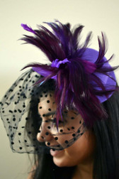 Purple Top Hat with Feathers and Polka Dot Veil