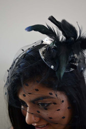 Silver Mini Top Hat with Sequins, Feathers and Polka Dot Veil
