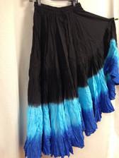 DIP DYE- 25-Yard Pure Cotton Skirts - Black Aqua Border