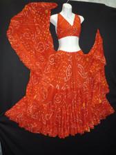 Jaipur Skirt Halter Ensemble, Orange