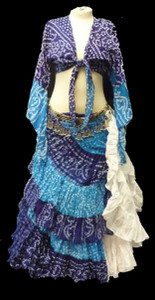 Jaipur Skirt Ensemble Multi hue Blue