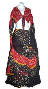 Jaipur Skirt Ensemble, Red and Black