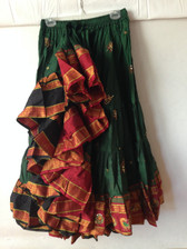 Embroidered Aishwarya Skirt Green - Red Band