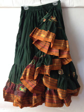 Embroidered Aishwarya Skirt Green - Gold Band