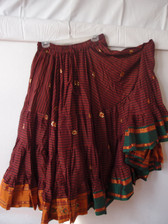Striped Embroidered Aishwarya Skirt Maroon