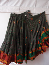 Striped Embroidered Aishwarya Skirt Green and Red