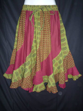 Maroon and Green Scalloped 12 panel Skirt