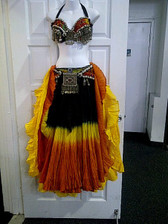 Gorgeous Orange Yellow Ensemble 2 skirts, Bra, Belt