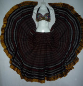 Striped Aishwarya Skirt Burgundy
