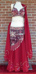 Gorgeous Glitzy Burgundy Ensemble Bra/Belt/Skirt/Veil