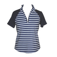 Ladies Golf Shirt with Stripes & Navy Short Sleeves