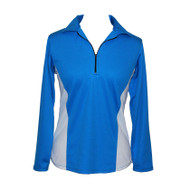 Long Sleeve Golf Top in Blue & White