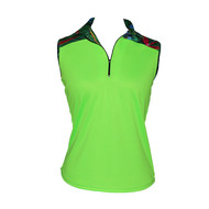 Ladies Golf Top in Green with Tropicana Print