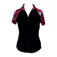 Ladies Golf Top in Black with Calypso Print