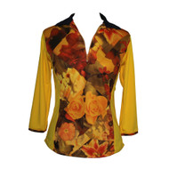 Yellow and Floral Golf Top in 3/4 Long Sleeve