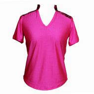 Women's Golf Top in Hot Pink with Electric Print
