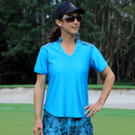 Women's Golf Top in Blue with Electric Print