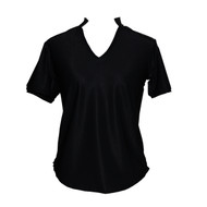 Women's Golf Shirt in Black with Electric Print