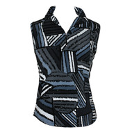 Women's Golf Sleeveless Polo in Jersey Stripes Charcoal