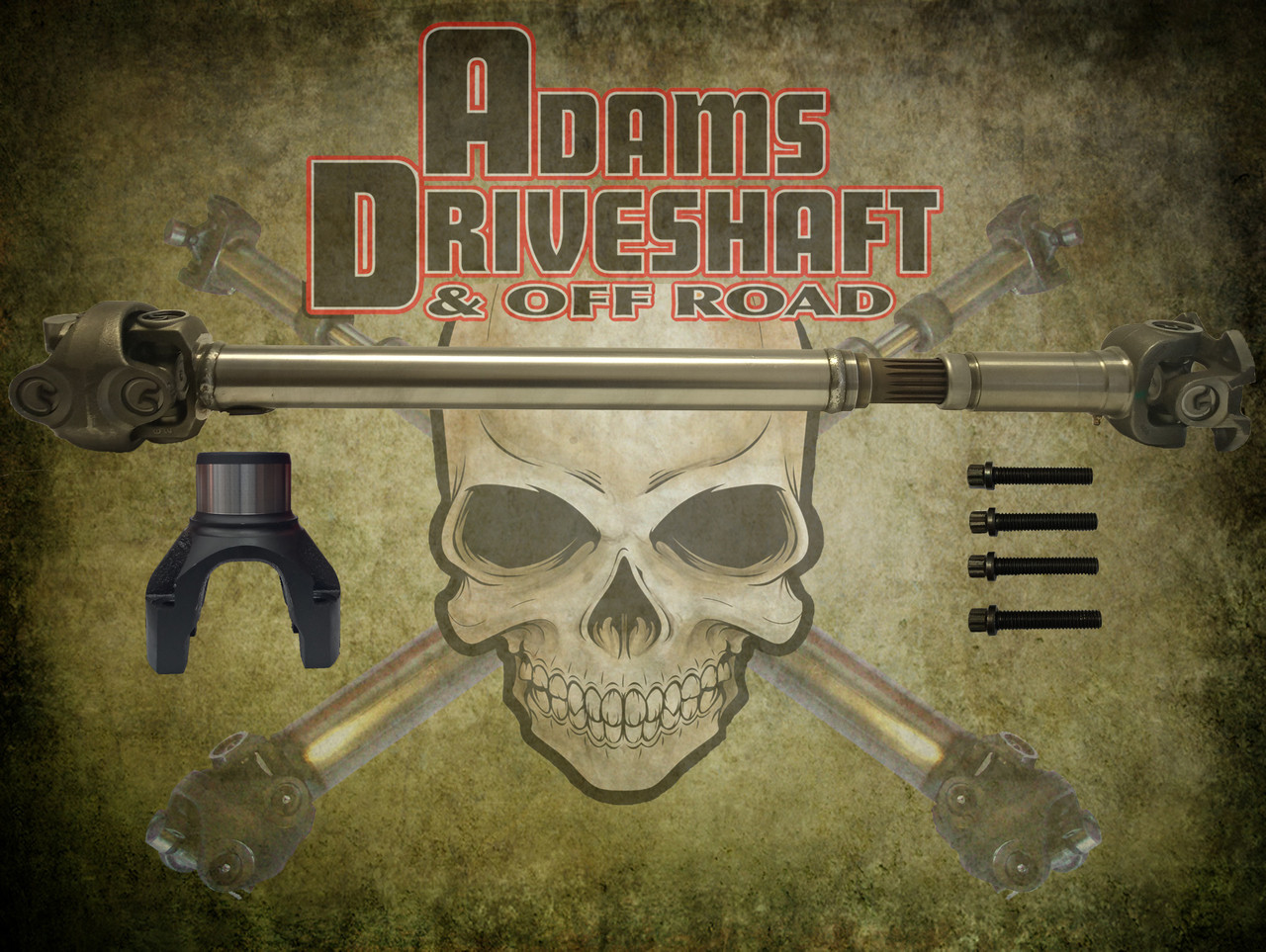 ADAMS DRIVESHAFT JL RUBICON OR NON RUBICON FRONT 1350 CV DRIVESHAFT SOLID  U-JOINTS OEM FLANGE STYLE [EXTREME DUTY SERIES]