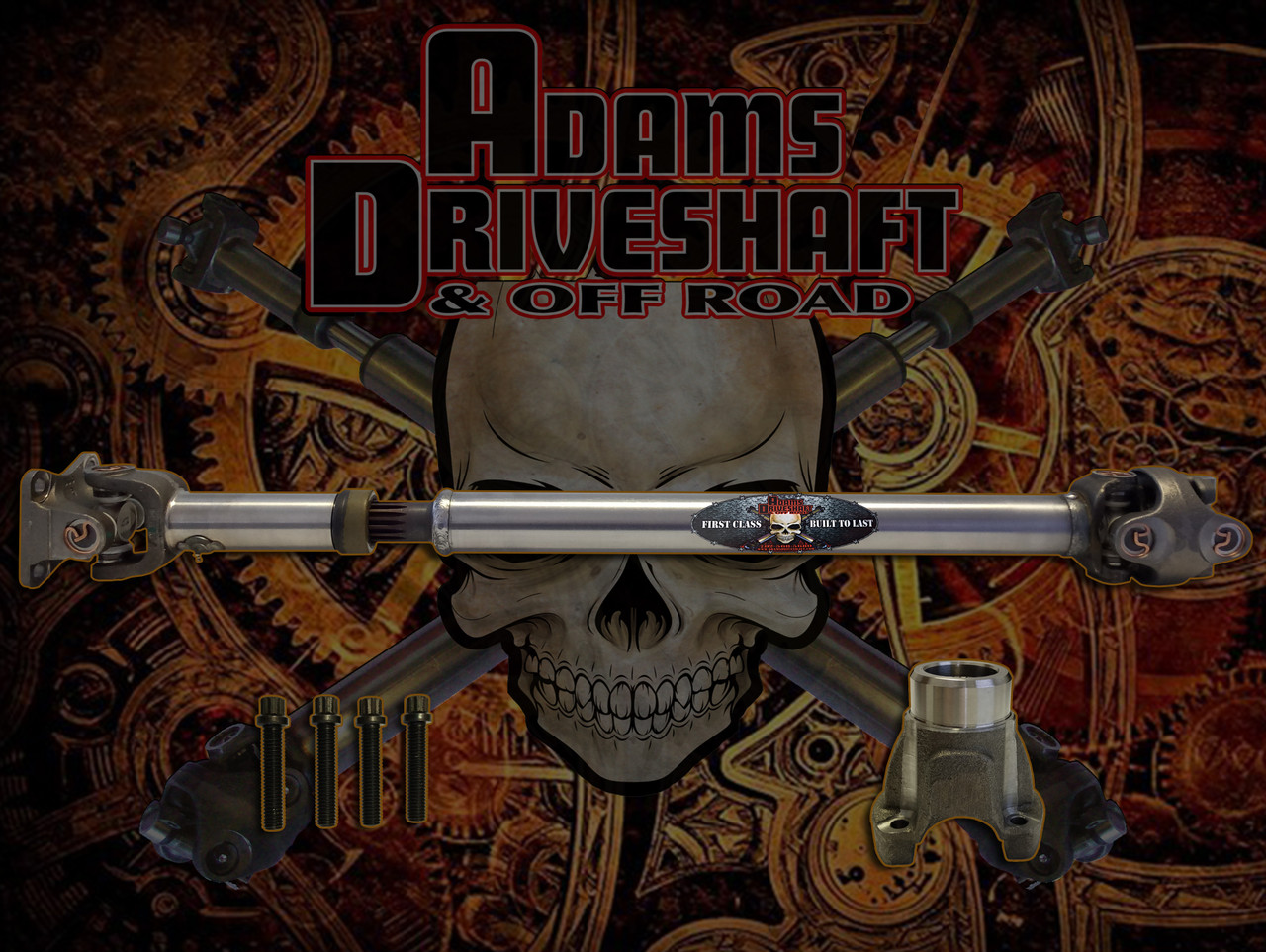 ADAMS DRIVESHAFT JT GLADIATOR FRONT 1310 CV DRIVESHAFT SOLID U-joints OEM  FLANGE STYLE [EXTREME DUTY SERIES]