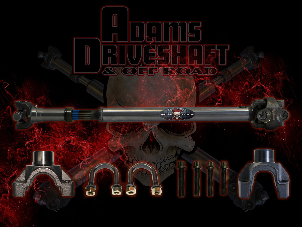ADAMS DRIVESHAFT JEEP WRANGLER JKU FRONT AND REAR 4 DOOR 1350 CV DRIVESHAFT PACKAGE SOLID U-JOINTS EXTREME DUTY SERIES