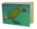 Christmas Card Santa Turtle, single