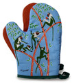 Hand screen printed monkey oven gloves.