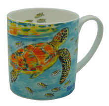 Bone china mug with a turtle and fish design.