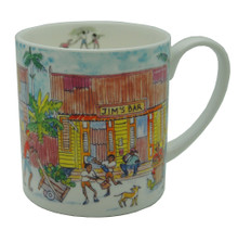 Bone china mug of a street scene in Barbados.
