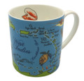 Bone China Mug with Caribbean Map design.