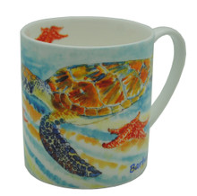 Bone china mug with turtle and starfish design.