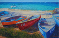 Boats at Sixmen's Bay by Sue Trew