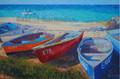 Boats at Sixmen's Bay by Sue Trew