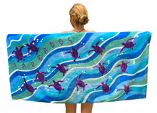 Beach towel with hatchlings swimming.