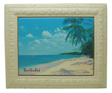 A framed tile with a painting of the west coast of Barbados by Sue Trew