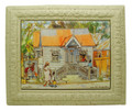 A framed tile with a painting of a chattel house in Barbados by Jill Walker