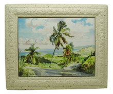 A framed tile with a painting of Cherry Tree Hill in Barbados by Jill Walker