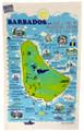 Hand screen printed Barbados map tea-towel.