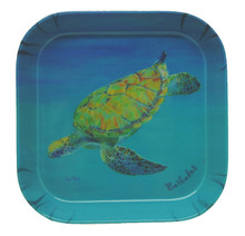 A small melamine tray with a Sue Trew painting of a turtle.
