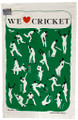 Hand screen printed cricket tea-towel.